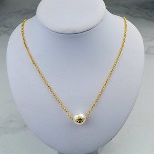 Tory Burch Pearl Pendant Logo Clavicle Necklace